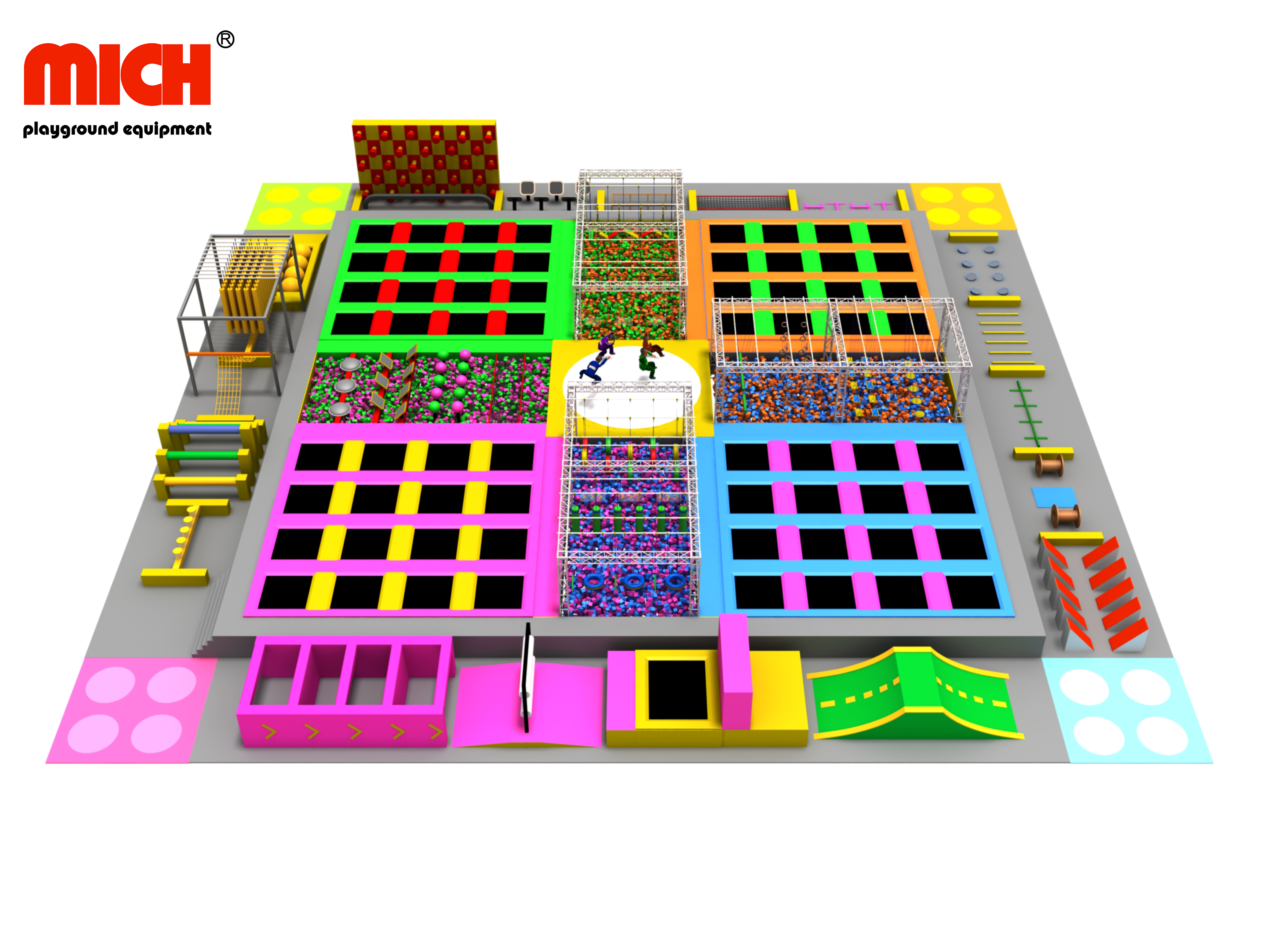 Indoor Trampoline Park With Ninja Course for Sale