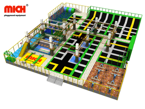 Mich CE ASTM Certificated Indoor Trampoline Park with Skywalk, Zipline