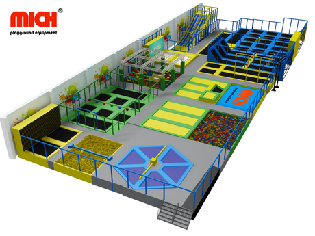 Mich CE TUV Certificated Customized Trampoline Park with Ninja Warrior Course, Spider Paste Wall, Foam Pit Pool, Dodge Ball Area