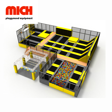Yellow Medium Indoor Commercial Trampoline Park With Ninja Course
