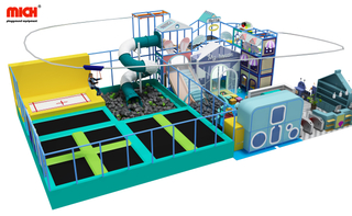 Kids Indoor Soft Play with Trampoline And Zip Line Playground Equipment