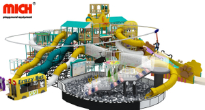 Big Kids Indoor Playground with Slide, Ball Pool, Zipline